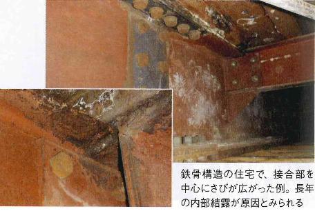 水漏れによる鉄骨の錆び