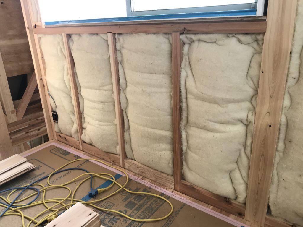 羊毛断熱材の施工後